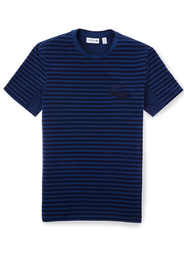 Men's Striped Piqué Crew Neck T-shirt