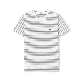 Fine Stripe V-Neck Tee Shirt