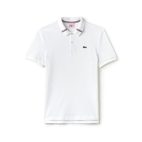 Men's L!VE Slim Fit Tricolor Band Collar Polo Shirt