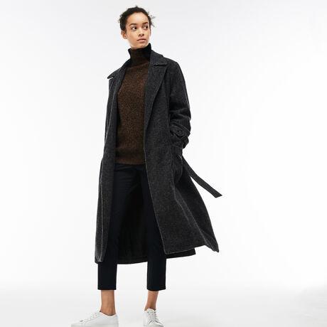 라코스테 벨티드 트위드 코트 까슈그레이 Lacoste Womens Long Belted Tweed Coat, CACHOU GRAY