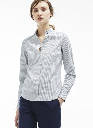 Women's Stripe Cotton Slim Fit Woven Shirt