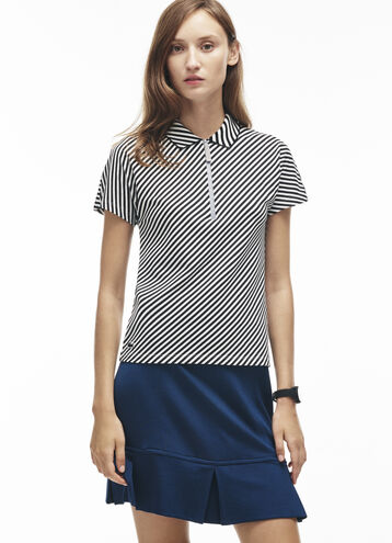 Women's Zip Neck Diagonal Stripe Print Stretch Petit Piqué Polo Shirt