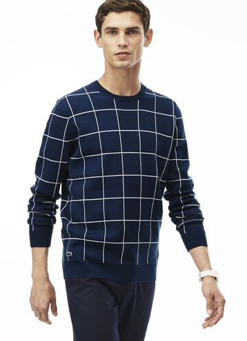 Men's Crew Neck Net Print Cotton Jacquard Sweater