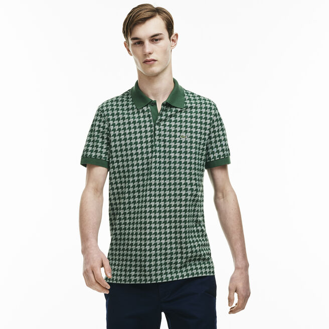 Men's Regular Fit Piqué Polo Houndstooth Print Caviar Shirt
