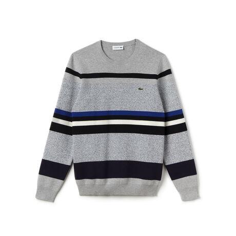 Men's Crew Neck Striped Color Block Sweatshirt