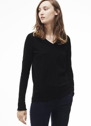 Women's Fine Jersey Cashmere V-Neck Sweater