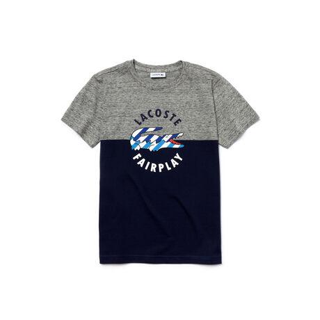 Boy's Jersey Crocodile Print Crew Neck T-Shirt
