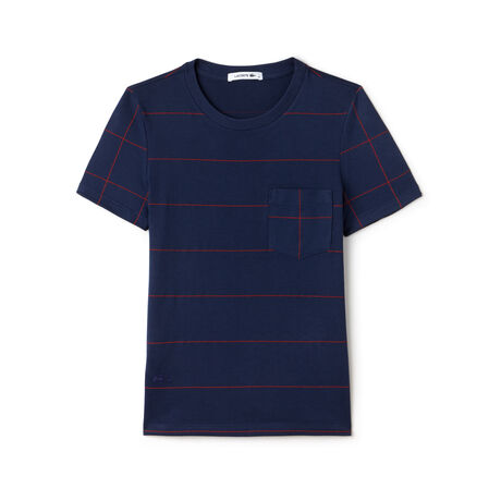 Women's Windowpane Print Cotton T-Shirt