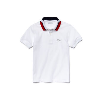 Kids' Color Block Collar Cotton Piqué Polo Shirt