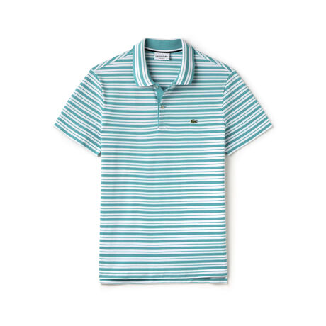 Men's Stripe Ribbed Collar Piqué  Polo Shirt