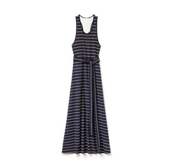 Women's Fashion Show Long Striped Jersey Dress