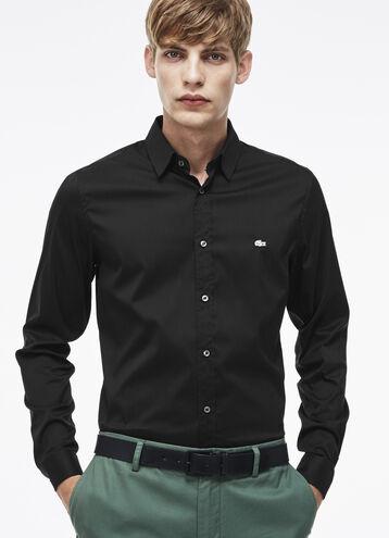 Slim fit shirt in colored stretch cotton poplin