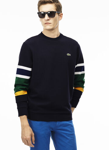 Men's Crew Neck Colorblock Ottoman Knit Sweater
