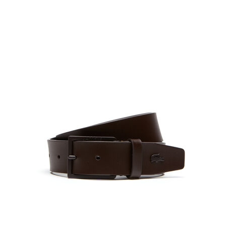 Men's Smooth Leather Belt With Lacoste Buckle
