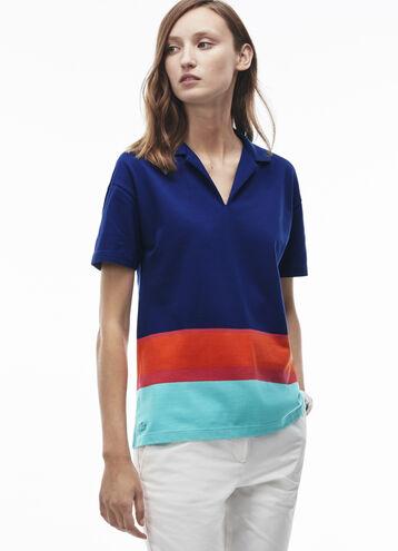 Women's Stripe Colorblock Cotton Polo Shirt