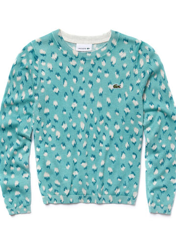 Girl's Leopard-Print Crewneck Sweater