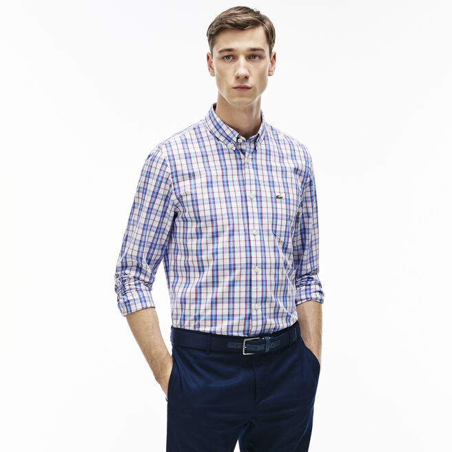 Men's Regular Fit Colorful Checked Poplin Shirt