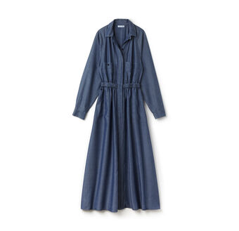 Women's Long Belted Chambray Dress