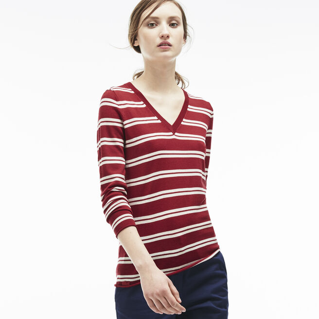 Women's Wool Jersey Striped V-Neck Sweater