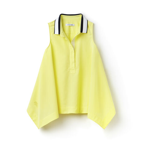 Women's Asymmetrical Contrast Polo Collar Twill Top