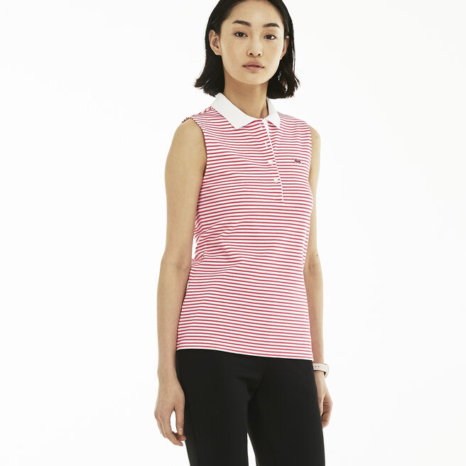 Women's Slim Fit Stretch Striped Petit Piqué Polo Shirt
