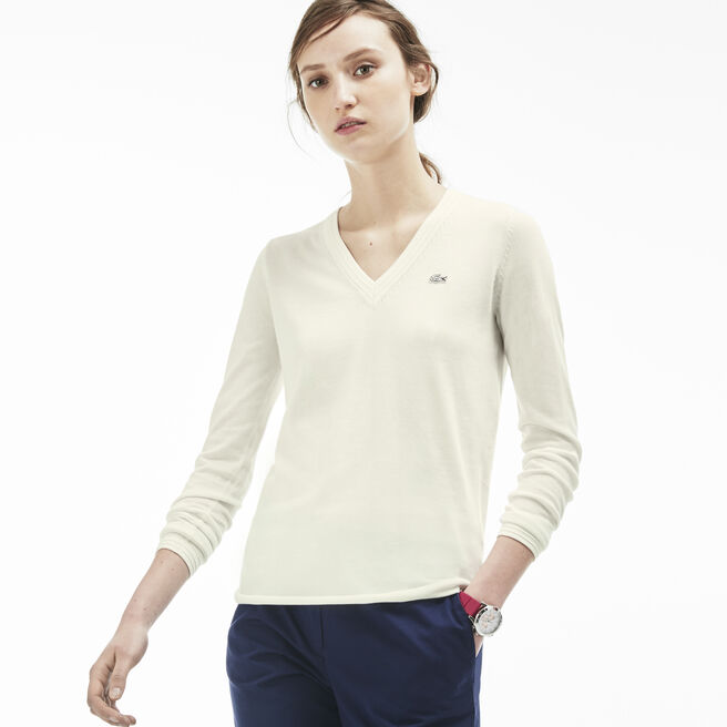 Women's Cotton Jersey V-Neck Sweater