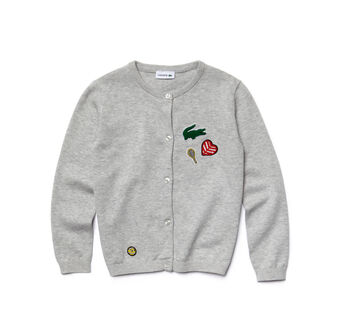 Kids' Cotton And Wool Sequined Accents Cardigan