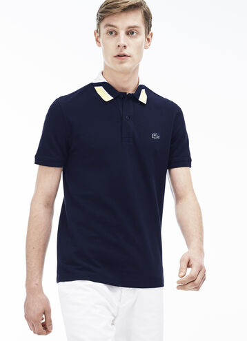 Men's Jacquard Color Block Polo Shirt