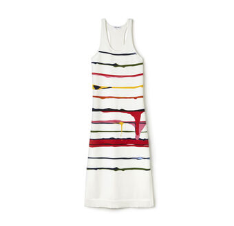 Women's Fashion Show Long Colorful Striped Jersey Dress
