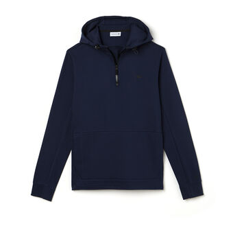 Men's Zip Neck Back Lettering Hooded Sweatshirt