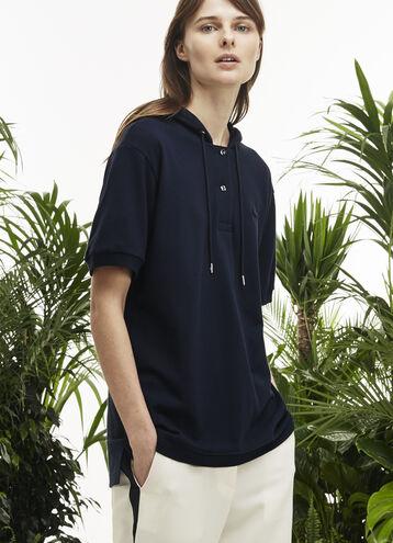 Women's Fashion Show Hooded Pleated Panel Polo Shirt