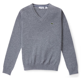 Kids' V-Neck Cotton And Wool Blend Sweater
