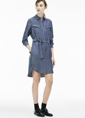 Women's Denim Chest Pocket Twill Shirt Dress