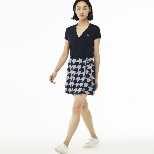 Women's Herringbone Print Gabardine Wraparound Skirt