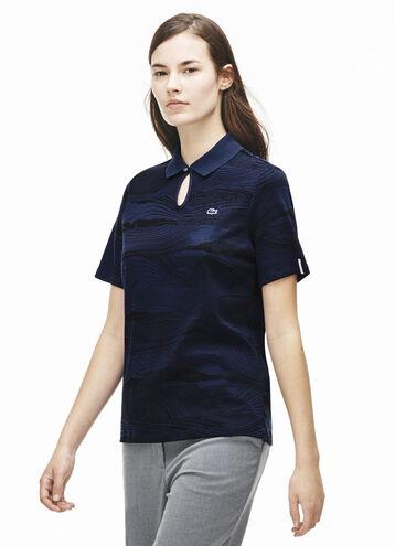 Women's L!VE Wood Print Cotton Keyhole Neck Polo Shirt