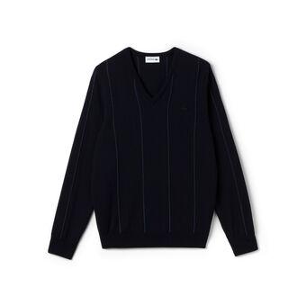 Men's Intarsia Vertical Stripe Crewneck Sweater