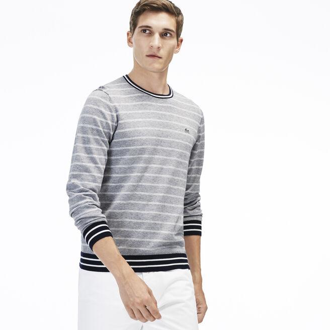 Men's Stripe Cotton Crewneck Sweater