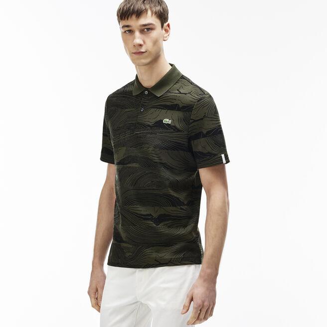 Men's L!VE Regular Fit Wood Print Polo Shirt