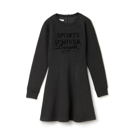 "Women's ""SPORTs D'Hiver"" Graphic Fit and Flare Sweatshirt Dress"