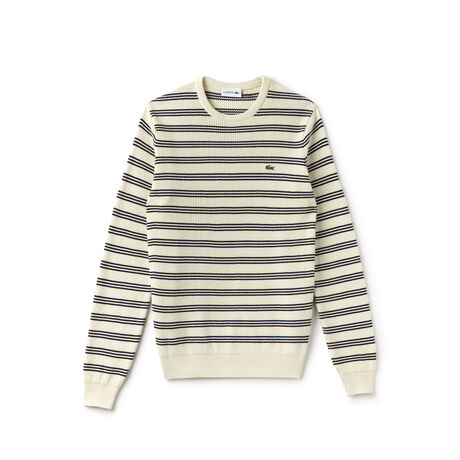 Men's Striped Honeycomb Knits Crew Neck Sweater