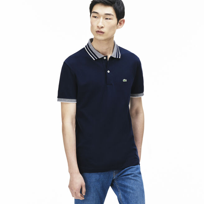 Men's Fine Striped Cotton Rib Polo Shirt