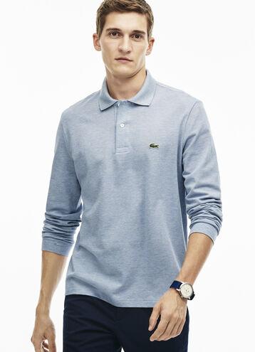 Men's Long Sleeve Chine Piqué Polo Shirt