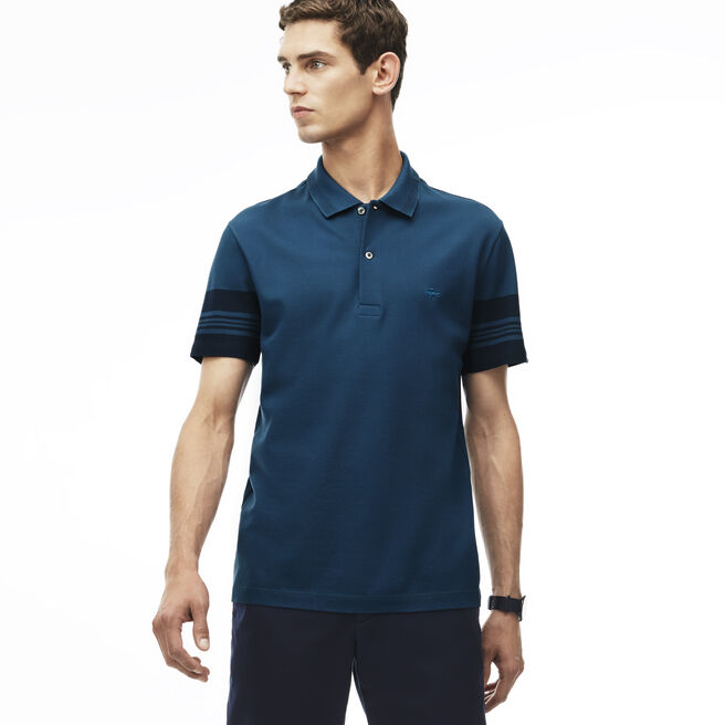 Men's Slim Fit Striped Sleeves Cotton Piqué Polo Shirt