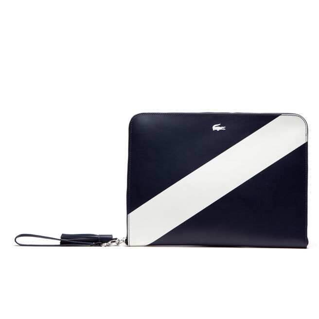 Women's Lacoste LIVE Coated Leather Mini Tennis Zip Clutch Bag
