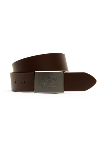 Belt in Smooth Leather with Crocodile Plate Buckle