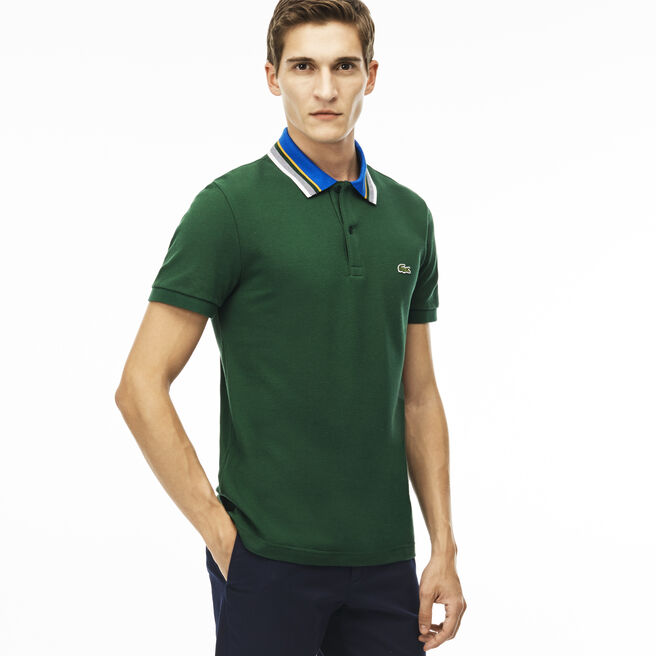 Men's Regular Fit Petit Piqué Striped Collar Polo Shirt