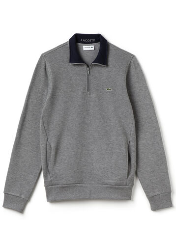 Men's Ribbed Cotton Stand-Up Collar Sweatshirt