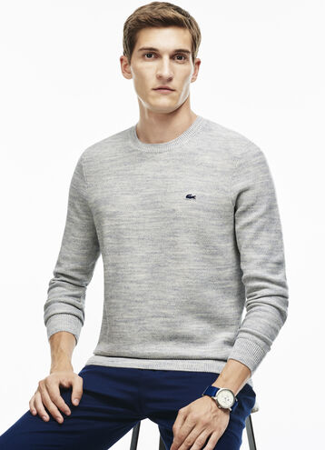 Men's Bicolor Moss Stitch Crew Neck Sweater
