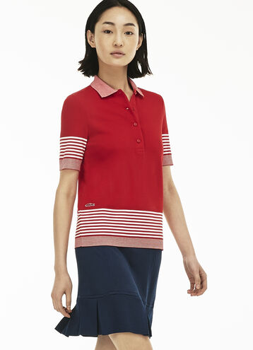 Women's Flowing Honeycomb Striped Piqué Polo Shirt