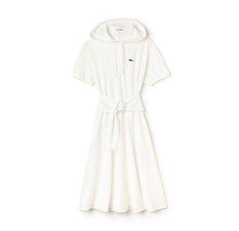 Women's Fashion Show Hooded Belted Mid-Length Piqué Dress